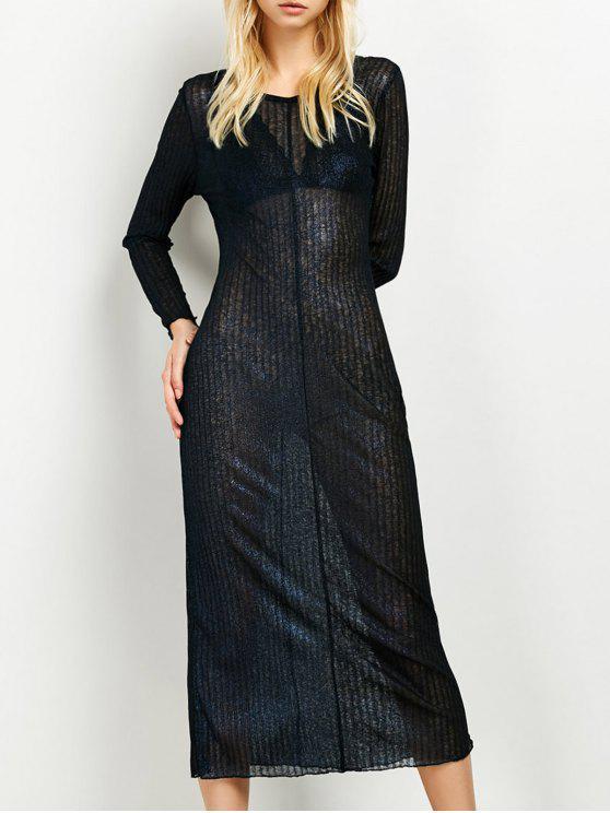 وميض فستان طويل - الأرجواني الأزرق S