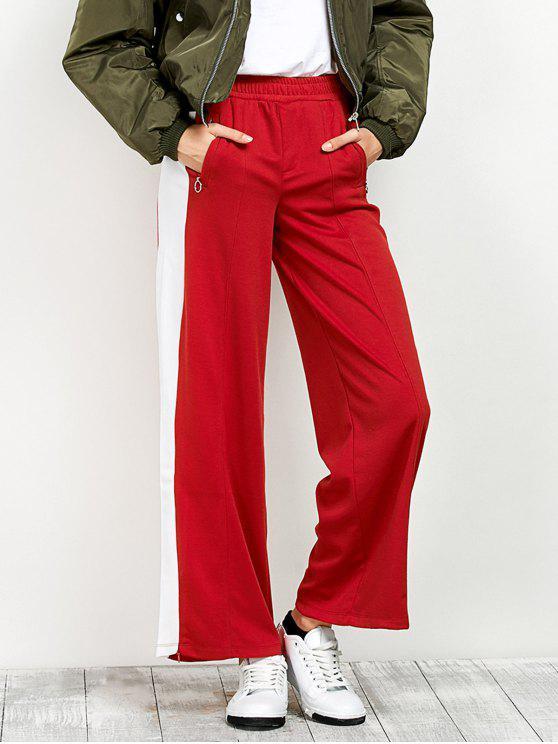 unique Side Band Wide Leg Pants - RED S