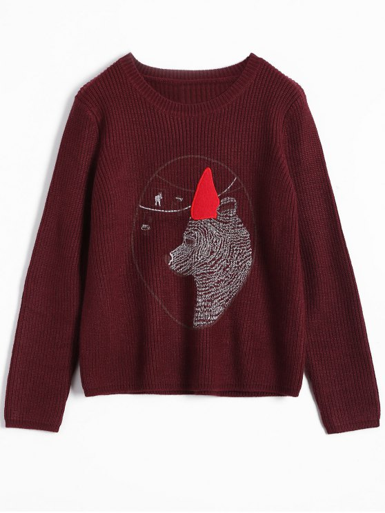 Ours Jacquard Sweater - Bourgogne TAILLE MOYENNE
