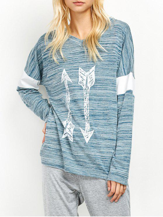Espacio Flecha teñido Patrón cuello en V Camiseta - Azul Claro XL