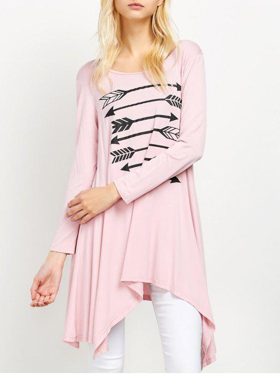 women Long Sleeve Arrow Print Tee - PINK XL