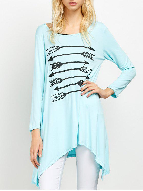 new Long Sleeve Arrow Print Tee - LIGHT BLUE M