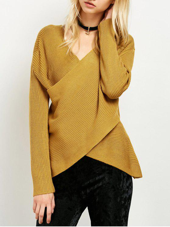 new Wrap Ribbed Sweater - YELLOW ONE SIZE