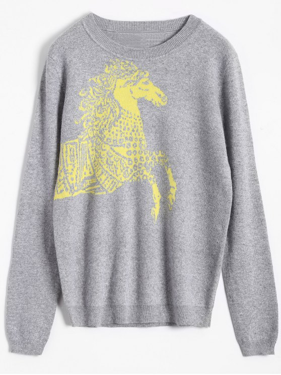 Caballo jacquard suéter Pullover - Gris Única Talla