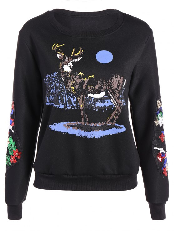 shop Round Collar Reindeer Print Sequin Sweatshirt - BLACK XL