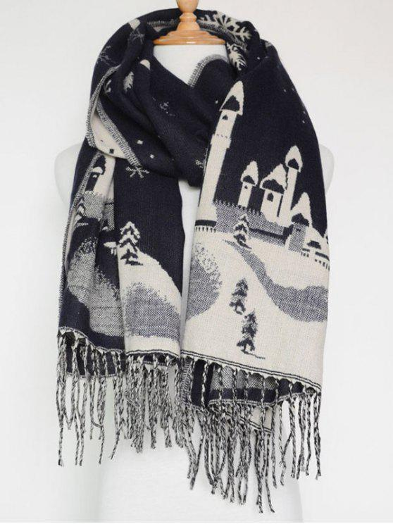 shops Christmas Snow Covered Landscape Tassel Scarf - PURPLISH BLUE