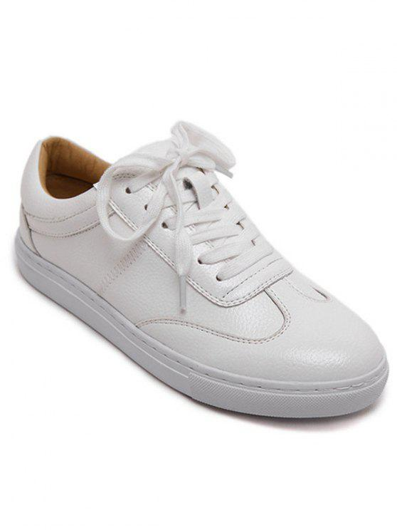 Laço Branco Up Toe Rodada Athletic Shoes - Branco 37