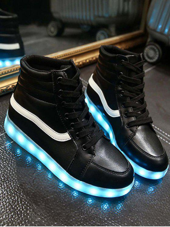 shop LED Light High Top Sneakers - BLACK 39