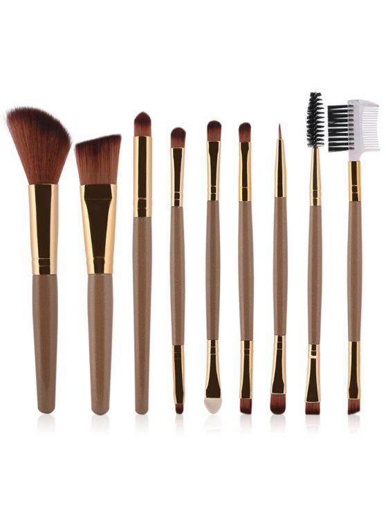 online 9 Pcs Makeup Brushes Set - CHAMPAGNE GOLD