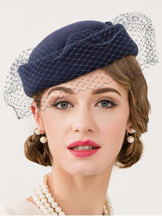 بونوت والحجاب شعرت قبعة قبعة مستديرة - ازرق غامق