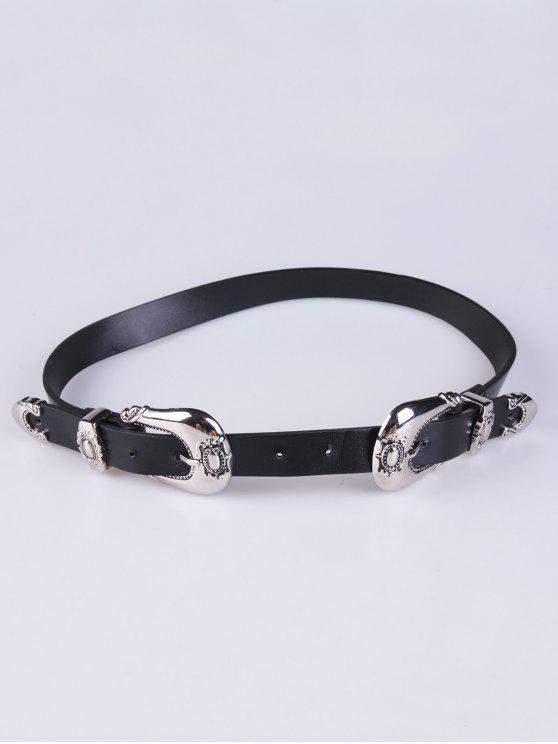 chic Double Carved Buckles PU Belt - BLACK