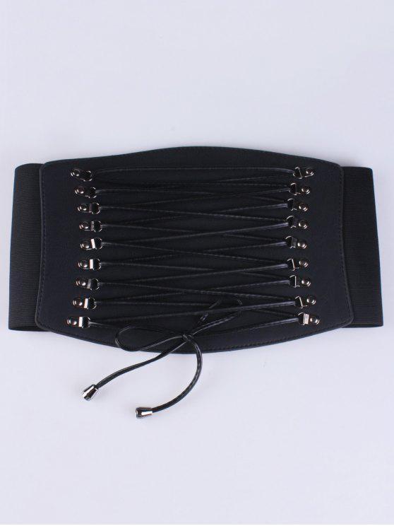 Ceinture corset élastique à lacets croisés - Noir