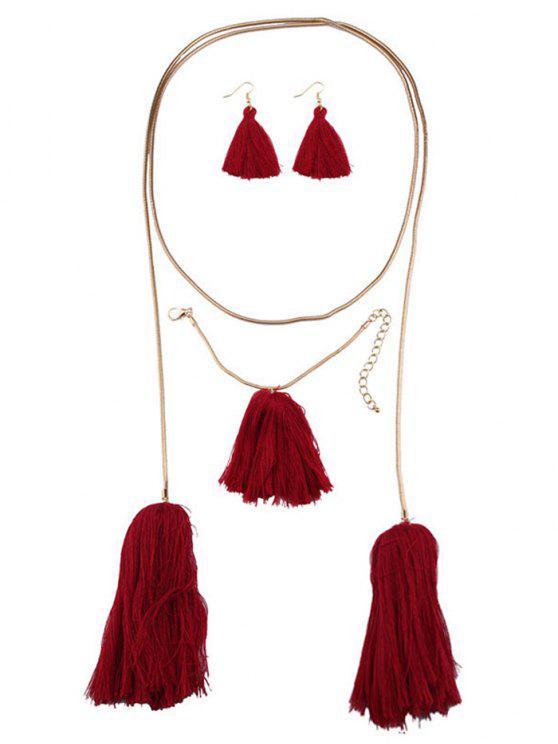 Pendientes borla collar y pulsera - Rojo