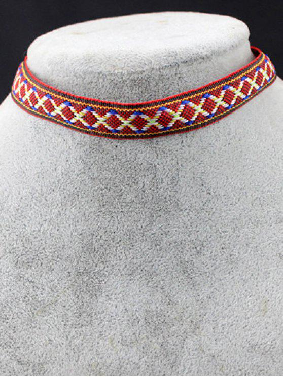 outfit Braid Criss Cross Choker - RED