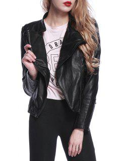 Zipped Faux Leather Biker Jacket - Black M