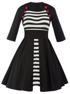 Vintage Striped Panel Swing Dress - Black Xl