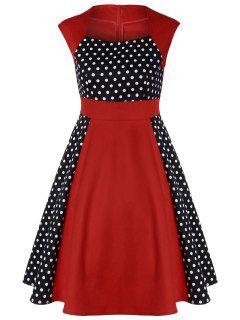 Polka Dot Panel Vintage Dress - Red L