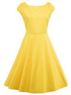 A Line Puffer Cap Sleep Prom Dress - Yellow S