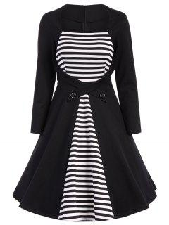 Stripe Modest A Line Long Sleeve Dress - Black M