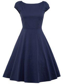 A Line Puffer Cap Sleep Plain Prom Dress - Purplish Blue M