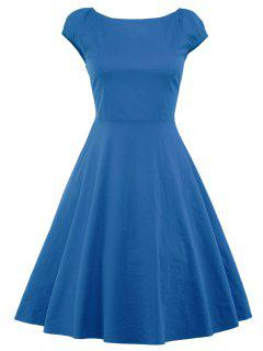 A Line Puffer Cap Sleep Plain Prom Dress - Blue S