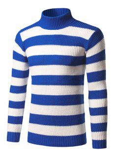 Roll Neck Broad Stripe Long Sleeve Sweater - Blue Xl