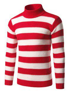 Roll Neck Broad Stripe Long Sleeve Sweater - Red M