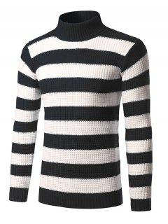 Roll Neck Broad Stripe Long Sleeve Sweater - Black L