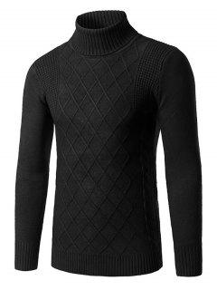 Roll Neck Rhombus Kink Design Long Sleeve Sweater - Black 3xl