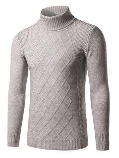 Roll Neck Rhombus Kink Design Long Sleeve Sweater - Gray 2xl