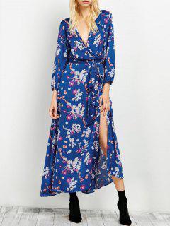 Vestido Maxi Floral Cuello V Al Costado - Azul S