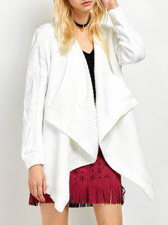 Draped Basket Weave Cable Cardigan - White M
