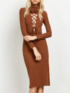 Turtleneck Ribbed Knit Midi Bodycon Dress - Brown