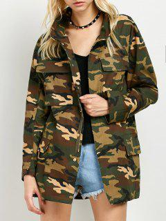Buttoned Camouflage Jacket - Army Green S