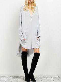 Loose High-Low Dress - Gray S