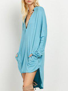 Loose High-Low Dress - Lake Blue S