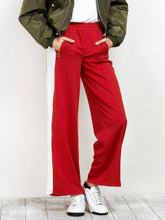 Side Band Wide Leg Pants - Red S
