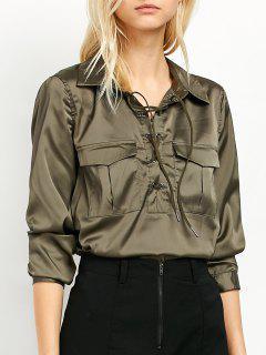OL Lace-Up Shirt - Green 2xl