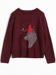 Bear Jacquard Sweater - Burgundy