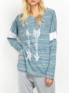 Space Dyed Arrow Pattern V Neck T-Shirt - Light Blue M
