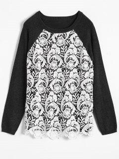 Crochet Front Raglan Jumper - White And Black