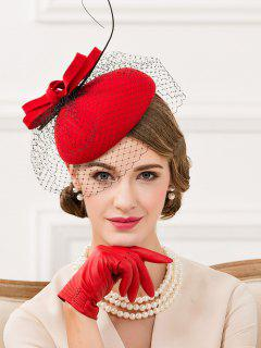 Feather Bowknot Mesh Cocktail Hat - Bright Red