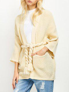 Oversized Belted Cardigan - Off-white S
