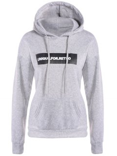 Drawstring Letter Loose Hoodie - Light Gray S