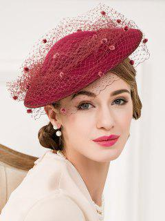 Floral Mesh Yarn Cocktail Hat - Wine Red