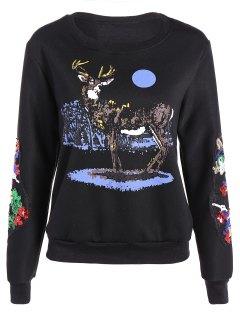 Round Collar Reindeer Print Sequin Sweatshirt - Black M
