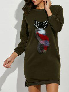 Rhinestone Cartoon Cat Patch Sweatshirt Dress - Army Green