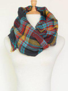 Plaid Pattern Fringed Cowl Scarf - Cadetblue