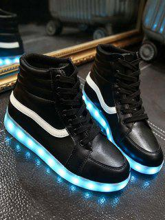 LED Light High Top Sneakers - Black 38