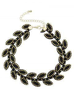 Collar Gargantilla Hoja De Remache - Negro